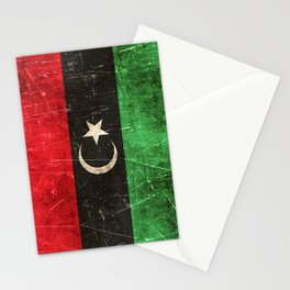 Vintage Aged and Scratched Libyan Flag Stationery Cards
