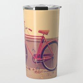 Vintage and Retro Pink Bicycle on the Street Travel Mug