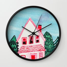 pink house at the bottom of the mountain Wall Clock