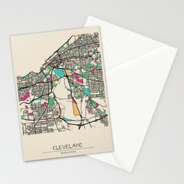 Colorful City Maps: Cleveland, Ohio Stationery Cards