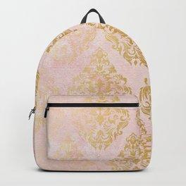 floral gold leaf diamond arabesque on pink Backpack