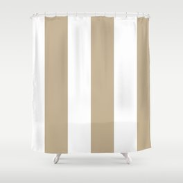 Wide Vertical Stripes - White and Khaki Brown Shower Curtain