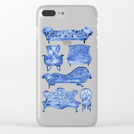 Victorian Lounge – Navy Palette Clear iPhone Case