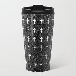 White Crosses Pattern Black Leather Photo Print Travel Mug