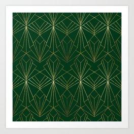 Art Deco in Gold & Green Art Print