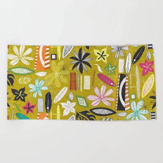 beachy yellow Beach Towel