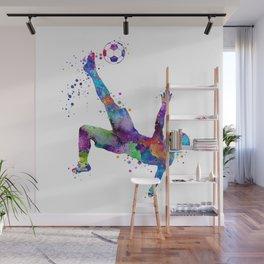 Bicycle Kick Soccer Boy Art Watercolor Gift Wall Mural