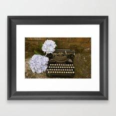 Typewriter with Hydrangeas  Framed Art Print