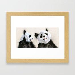 Laughing Pandas  Framed Art Print