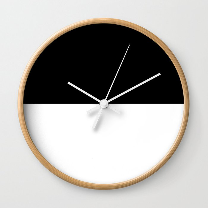 Black And White - Half And Half Split Wall Clock by Abstract Black And White - Natural - White