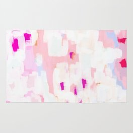 Netta - abstract painting pink pastel bright happy modern home office dorm college decor Rug