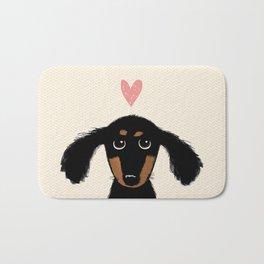 Dachshund Love | Cute Longhaired Black and Tan Wiener Dog Bath Mat