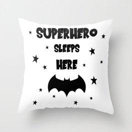 Superhero Sleeps Here Throw Pillow