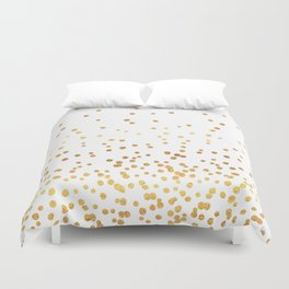 Floating Dots - Gold on White Duvet Cover