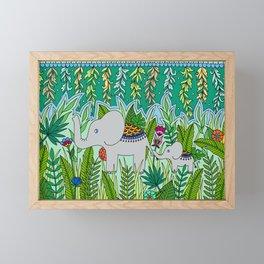 Elephant Mom and Baby Framed Mini Art Print