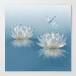 Blue Lotus and Dragonfly Canvas Print