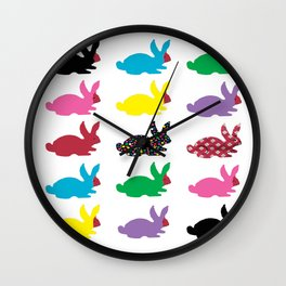 Rabbits Dressed For An Outing Wall Clock