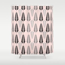 Pink Retro Floral Tree Pattern-Mix and Match with Simplicity of Life Shower Curtain