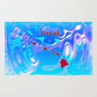 hawaii Area & Throw Rugs featuring Hawaii Map by Roger Wedegis