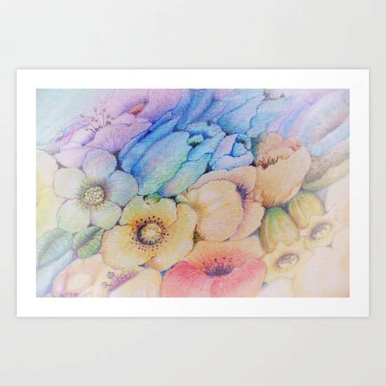Summer fantasy with by hand drawn flowers. Art Print