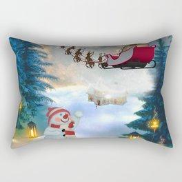 Christmas, snowman with Santa Claus Rectangular Pillow