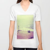 santa monica V-neck T-shirts featuring Santa Monica Boardwalk by Alissa Huff