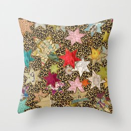 Leopard cosmos stars Throw Pillow