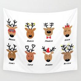 Santa's Reindeer Team Wall Tapestry