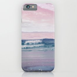 Pacific Dreamscape - Ocean Waves Pink + Blue iPhone Case