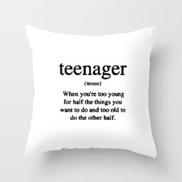 Teenager. Throw Pillow