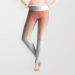Color block coral faux gold glitter waterdrops ombre Leggings