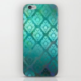 """""""Turquoise Ocean Damask Pattern"""" iPhone Skin"""