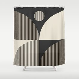 Abstraction_SUN_BOHEMIAN_BLACK_LINE_POP_ART_M100A Shower Curtain