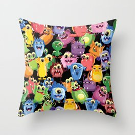 cute monsters Throw Pillow