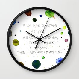 Let It Go, watercolor painting Wall Clock