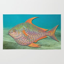 Vintage sketch of a colourful fish Rug