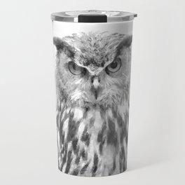 Black and white owl animal portrait Travel Mug