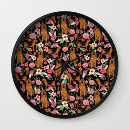 Bloodhound floral dog breed dog pattern pet friendly pet portraits custom dog gifts Wall Clock