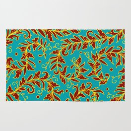 Lacy Leaves Turquoise Rug