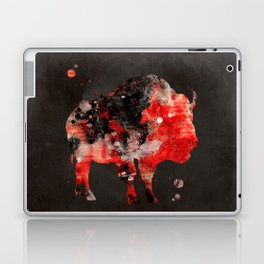 Watercolor Buffalo Bison Painting Black Red Grunge Laptop & iPad Skin