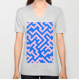 Cotton Candy Pink and Brandeis Blue Diagonal Labyrinth Unisex V-Neck