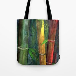 Colorful bamboo painting with gouache Tote Bag