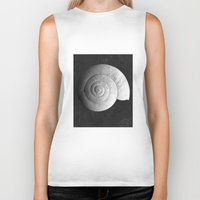 shell Biker Tanks featuring Shell by Studio Art Prints