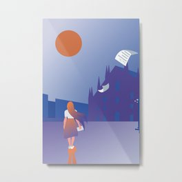 Girl reading a letter in front of Milan Dome Metal Print
