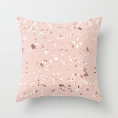 Blush Pink + Rose Gold Terrazzo Throw Pillow