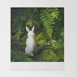 White Bunny with back turned Throw Blanket