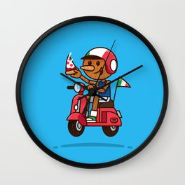 Italy! Pinocchio Eat Pizza and Ride Vespa Wall Clock