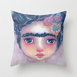 Frida In Lavendar Throw Pillow