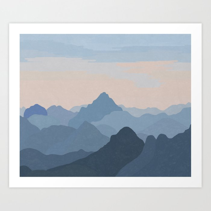 Pastel Sunset over Blue Mountains Art Print