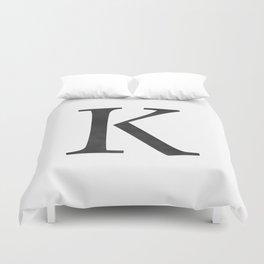 Letter K Initial Monogram Black and White Duvet Cover